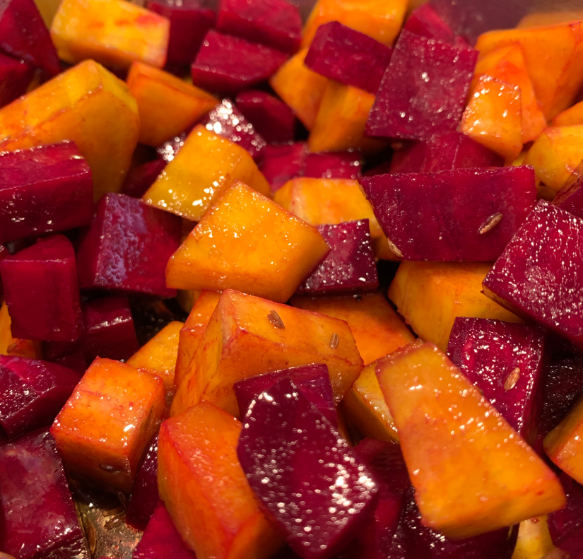 beet root curry cooked